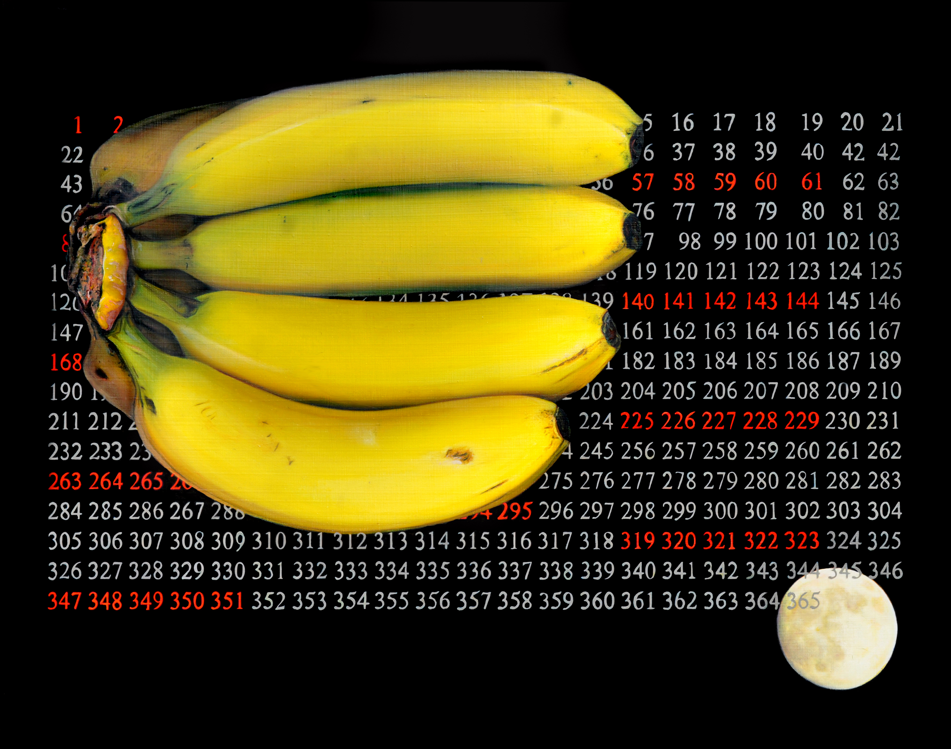 Bananas superimposed over a calendar with white and red numbers, with small moon in lower right
