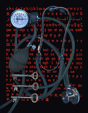 painting featuring a stethoscope, blood pressure gauge, keys, and letters in different languages