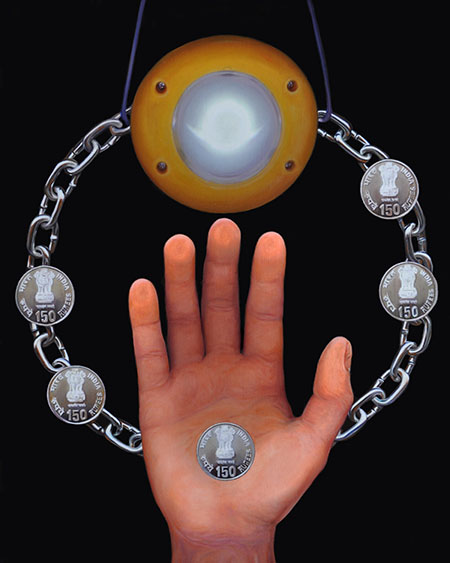 Painting of Indian coins, a chain around a hand, and a solar light