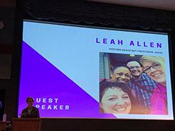 Professor Leah Allen delivers a keynote address at the 2017 Lavender Graduation