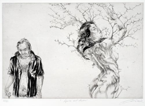 Diane Victor, Apollo and Daphne, drypoint, 2009-2010