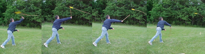 Four frames that show the sequence of throwing an atlatl
