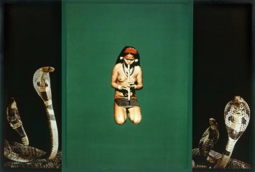 Sarah Charlesworth, Snake Girl, from the series Objects of Desire 2, 1985. Cibachrome with lacquered wood frame. © 1985 Sarah Charlesworth. Purchased, the Marie-Louise and Samuel R. Rosenthal Fund.