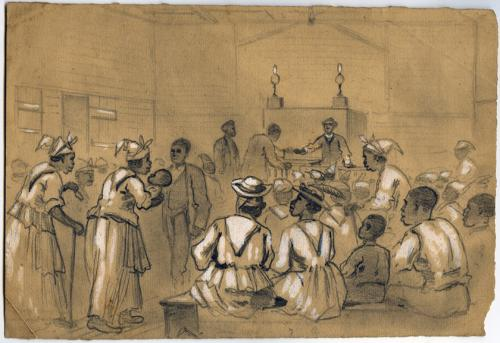 Joseph Becker, Negro Worship in the South: Taking Up the Collection, not dated. Graphite and white gouache on toned paper. Courtesy of the Becker Collection.