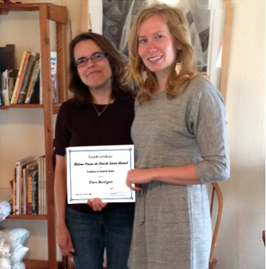 Clare Boerigter, 2014 Helena Percas de Ponseti Senior Award Recipient with Spanish Chair, Yvette Aparicio