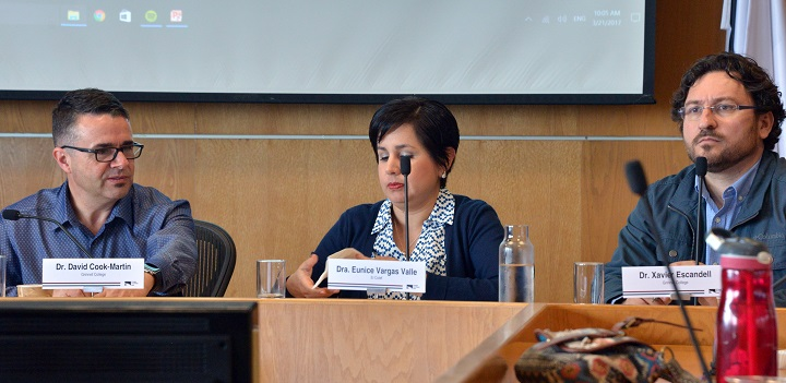Panelists David Cook-Martin and Xavier Escandell with Eunice Vargas Valle of Colegio de la Frontera Norte discussing migration