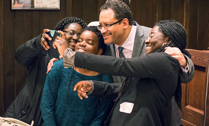 Current Grinnell College students and alumni with Michael Eric Dyson