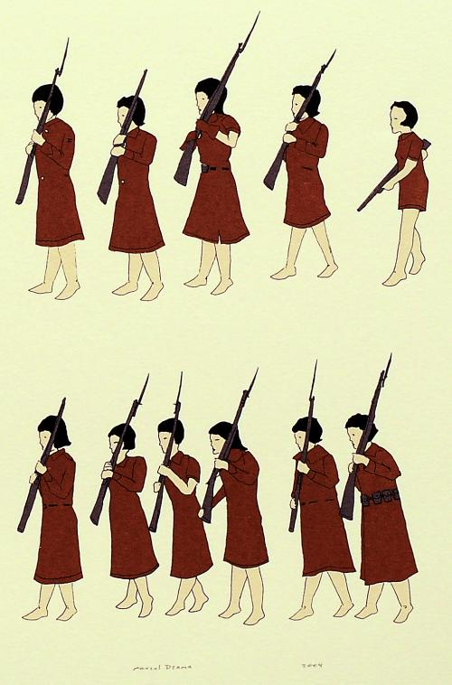 Marcel Dzama, Avant-Garde Army (detail), 2004. Screenprint with handcoloring. Marie-Louise and Samuel R. Rosenthal Fund.