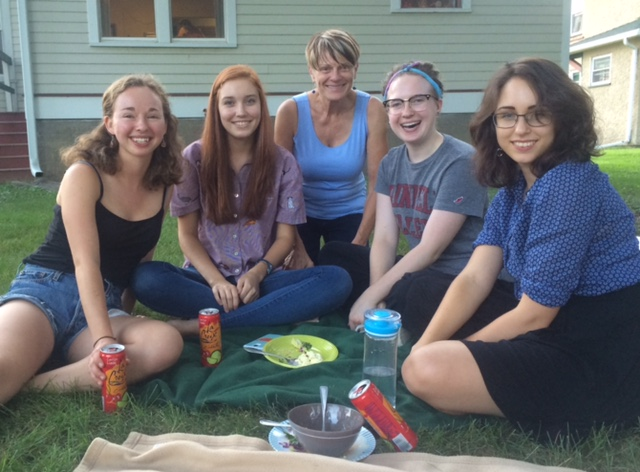 Fresh Flutes students with director Claudia Anderson during a picnic