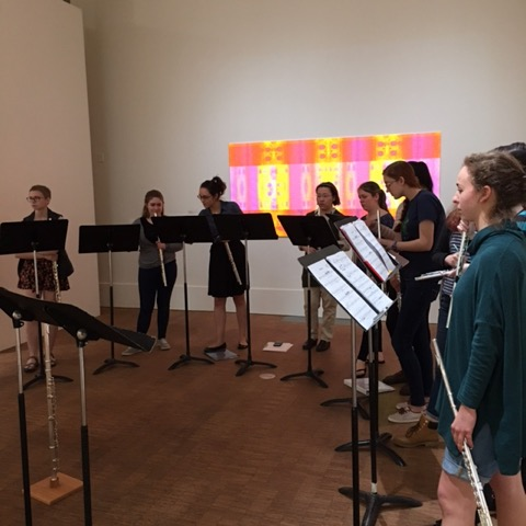 Fresh Flute performers in Faulconer Gallery