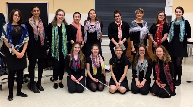 Fresh Flute Ensemble students with director, Claudia Anderson