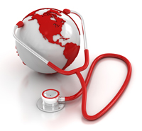 Red and white globe with red and white stethescope
