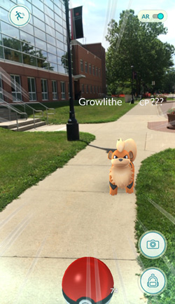 Growlithe in front of Noyce Science Center, Grinnell College