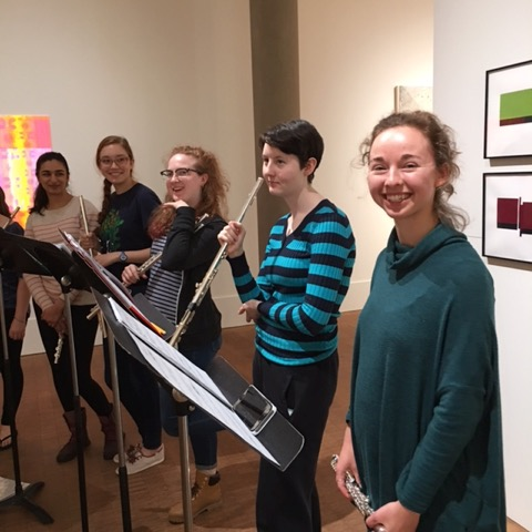 Fresh Flute performers relaxing in Faulconer Gallery