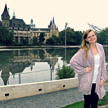Lizzie Eason '07 in front of Vajdahunyad Castle