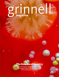 Cover of The Grinnell Magazine Spring 2016, growth in a petri dish