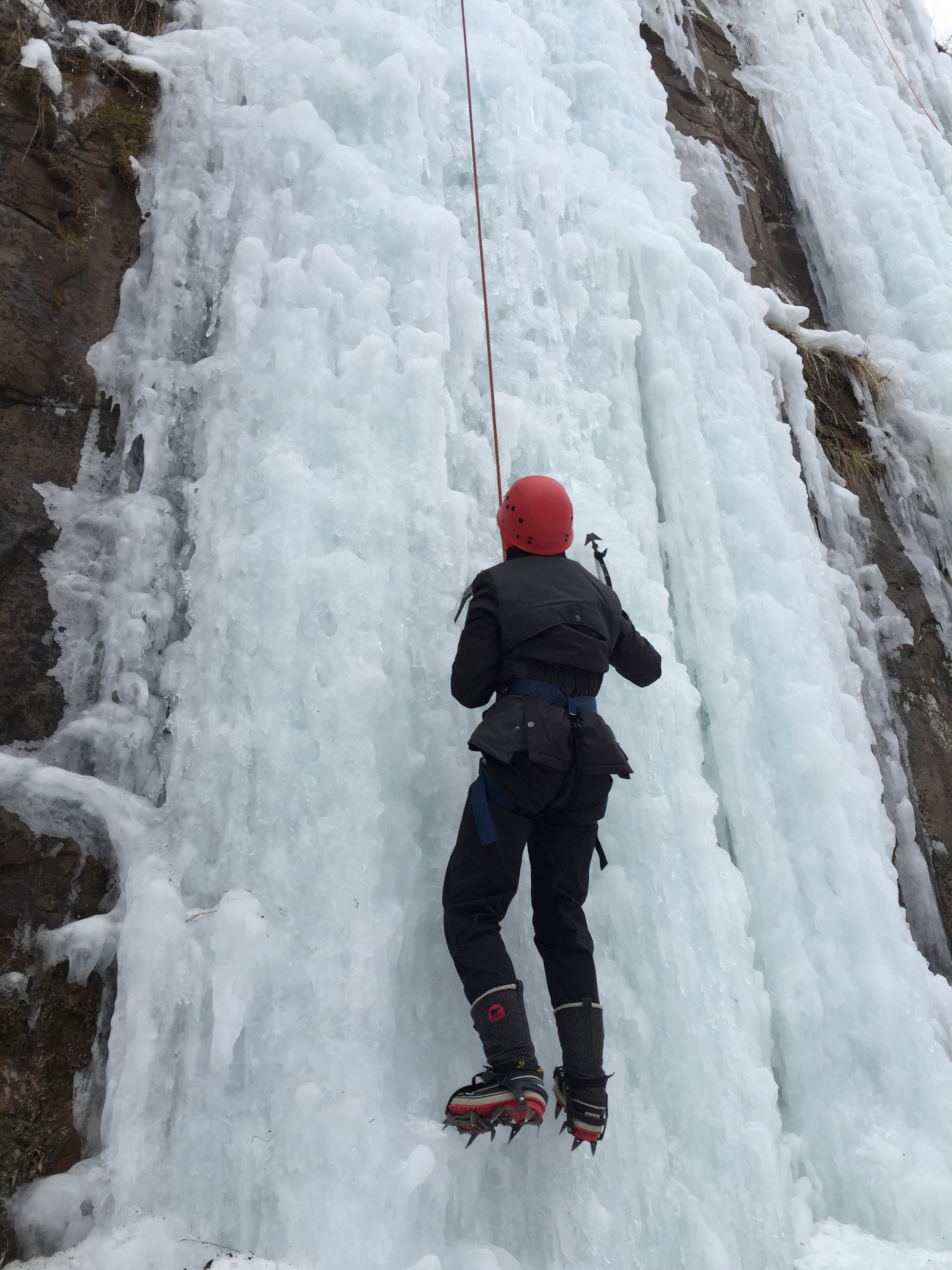Grinnell Outdoor Adventure Club Scaling Frozen Waterfall