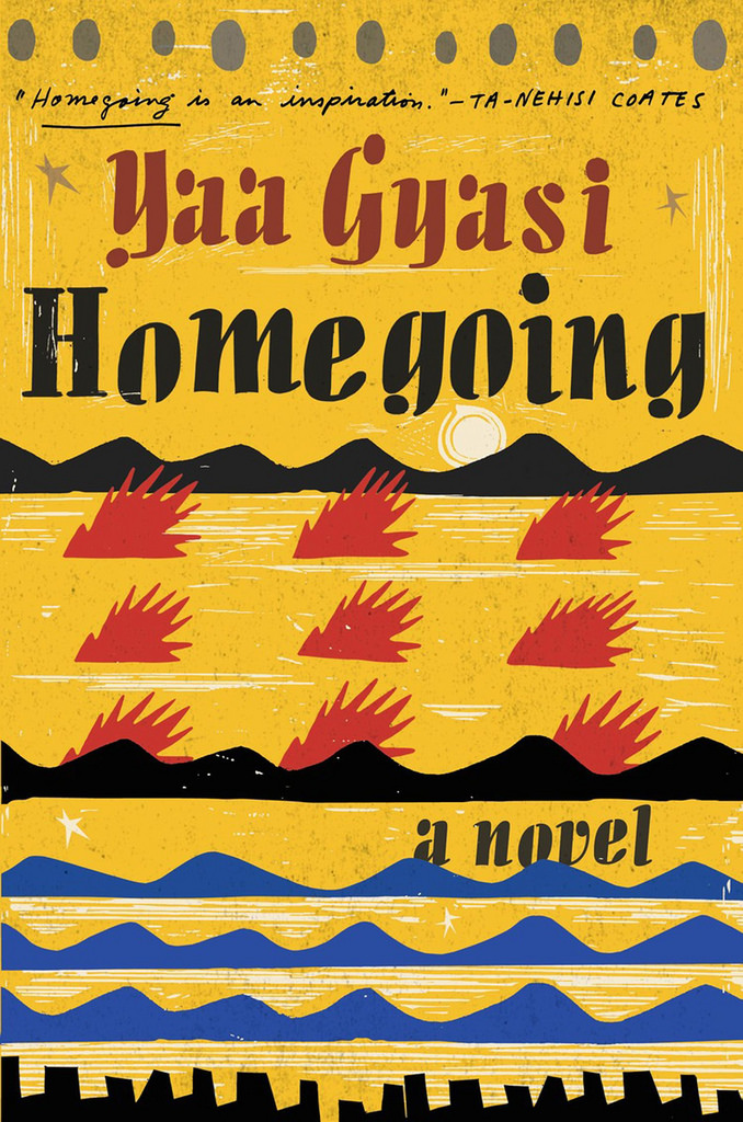 Image of the front cover of the Homegoing book. Yellow background, blue and red triangles in an ethnic pattern with the title and author in bold black letters
