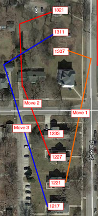 Map showing movement of houses on Park St in order: 1201 to 1307, 1227 to 1321, and 1217 to 1311