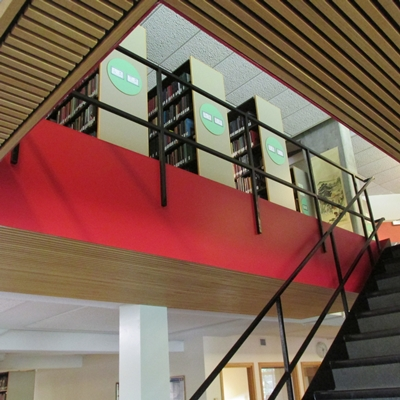 Newly painted stairwells in Burling Library