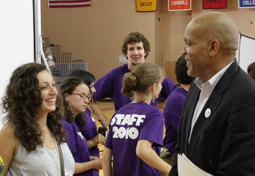 President Kington and some of the students at NSO 2010