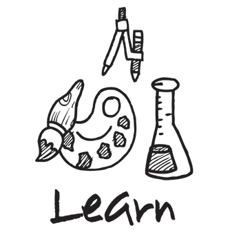 Learn - icon with artist palette, compass, and beaker
