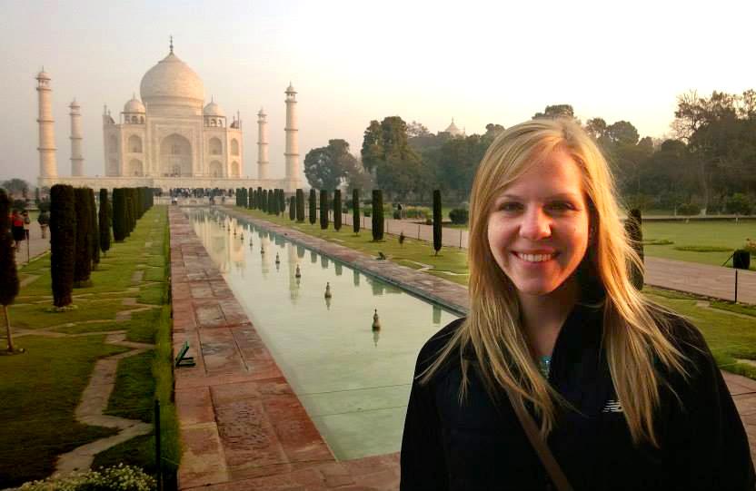 Lilliana Bagnoli in front of the Taj Mahal and reflecting pool