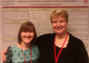 Victoria Vertilo '12 and Janet Gibson presenting research during poster session