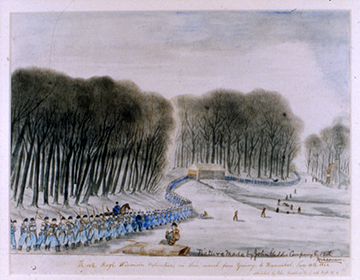 Watercolor by John Gaddis, March to Hannibal, January 1862