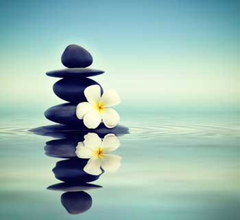 Calm scene with stacked stones and flower reflected in water