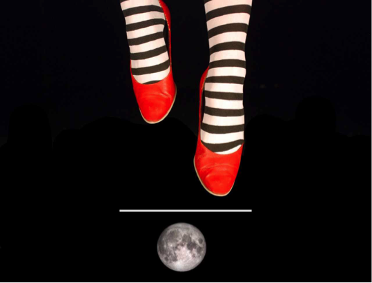 Striped socks, red shoes, walking over a moon