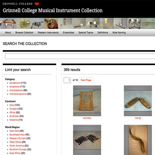 Screenshot from the Musical Instrument Collection website