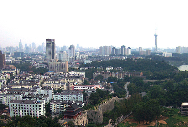 slightly hazy view of the Nanjing skyline