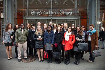 Grinnell students outside the New York Times