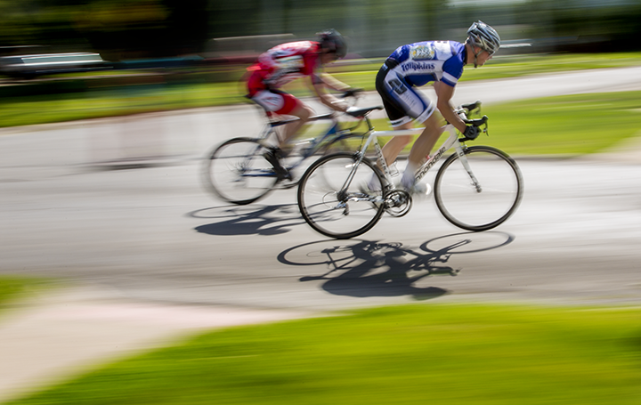 Bicyclists compete in the Grinnell Games criterium