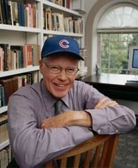 History Professor and ex-College President, George Drake in his Chicago Cubs cap