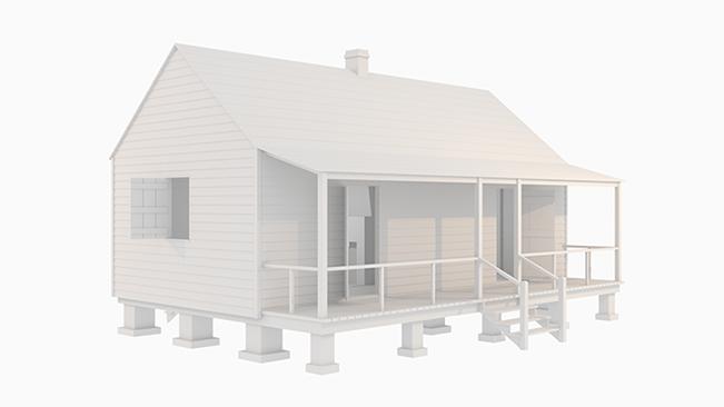 rendering of 19th century plantation slave cabin