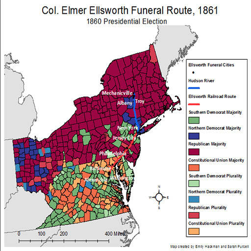 Map of the funeral route of Col. Elmer Ellsworth