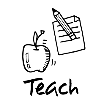 Teach - icon with apple, pencil, and paper