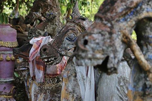 Terracotts horses draped in scarves.