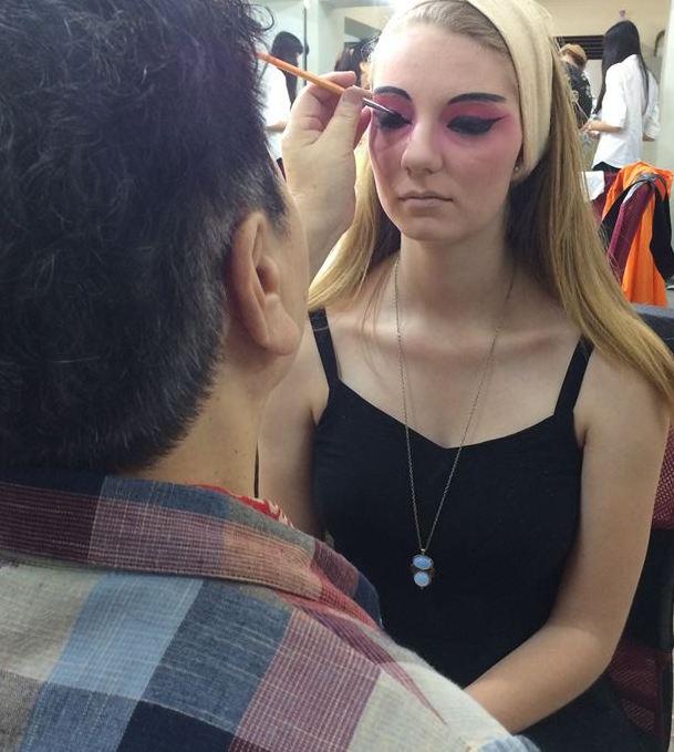 Amaris Bates' makeup session before performance.