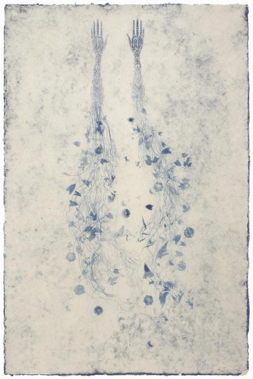 Valerie Hammond, Anemone, 2010. Photolithograph and relief on handmade paper, 72 x 48 in. © Valerie Hammond, image courtesy of Wildwood Press.