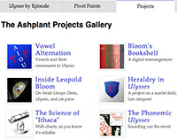 Screenshot from Ashplant, a set of tools and projects based on James Joyce's Ulysses