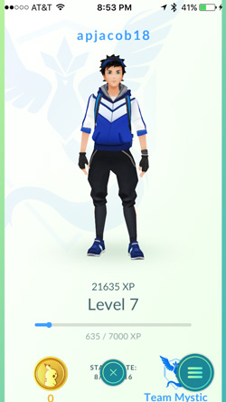 apjacob18 avatar screen showing 21635 XP at Level 7 with Team Mysitc