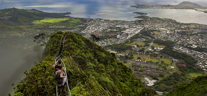 View from Haʻikū Stairs in Oahu, Hawaii