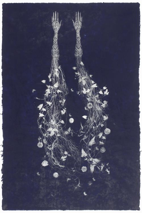 Valerie Hammond, Blue Anemone, 2010. Photolithograph and relief on handmade paper, 72 x 48 in. © Valerie Hammond, image courtesy of Wildwood Press.