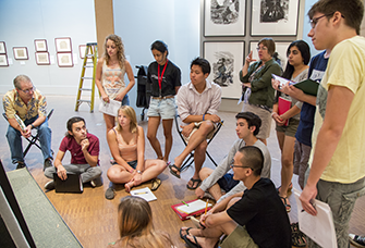 Student discussion group in Faulconer Gallery