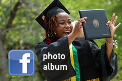 Facebook photo album (over picture of grad holding her diploma for all to see)