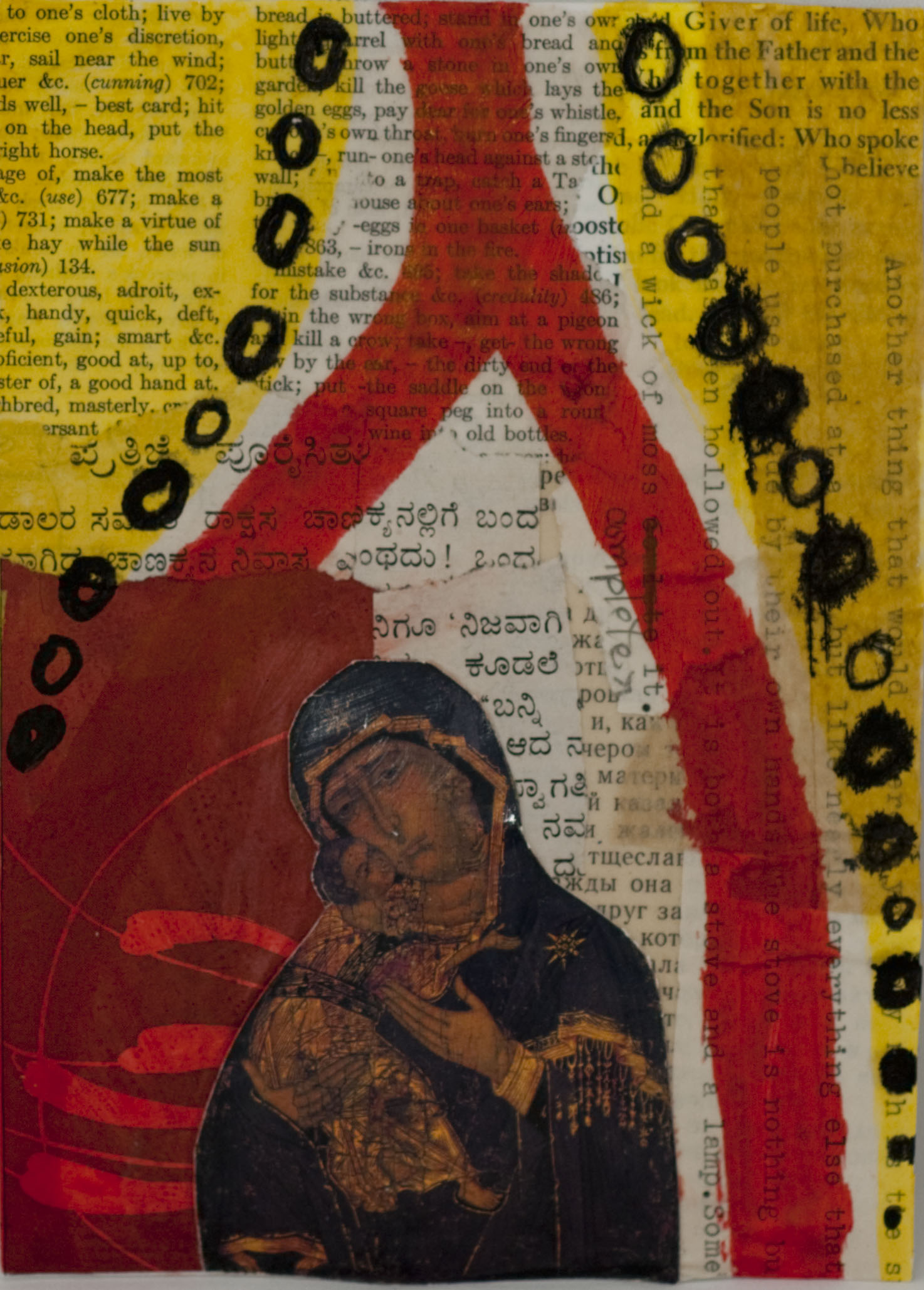 collage primarily red and yellow with icon of Virgin Mary