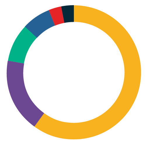 circle graphic indicating percentages in key